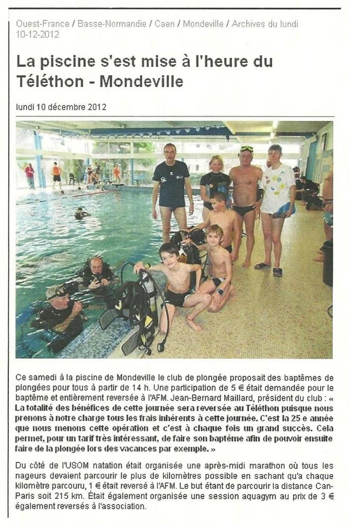 Article presse ouest France pour Telethon 2013 à USOM Plongée